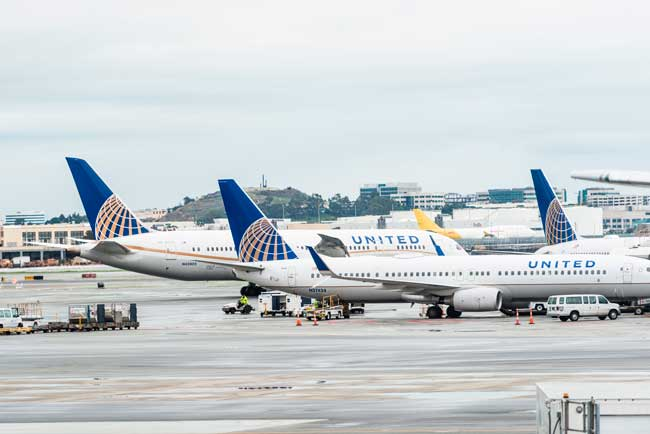 San Francisco Airport (SFO) is a hub ofr United Airlines.