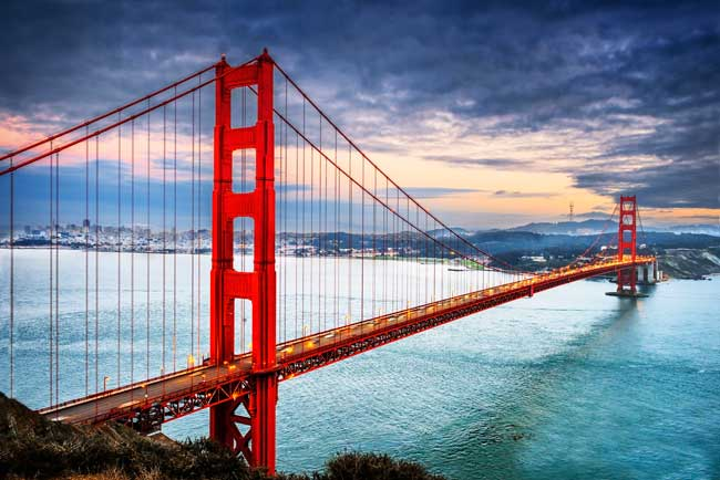 A wide famous sight of San Francisco is the magnificent Golden Bridge.